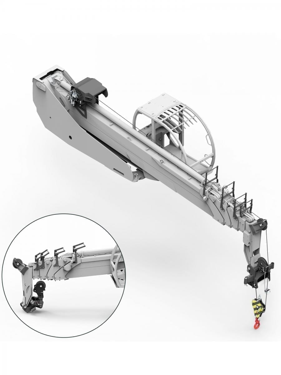 ARTICULATING WINCH BOOM FOR ROAD USE